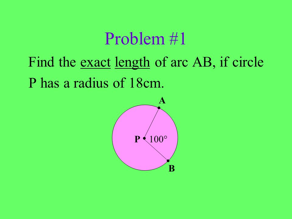 Find the exact length of arc AB, if circle
