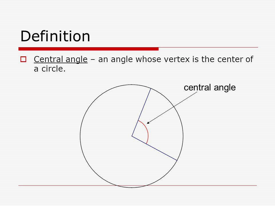 Definition central angle