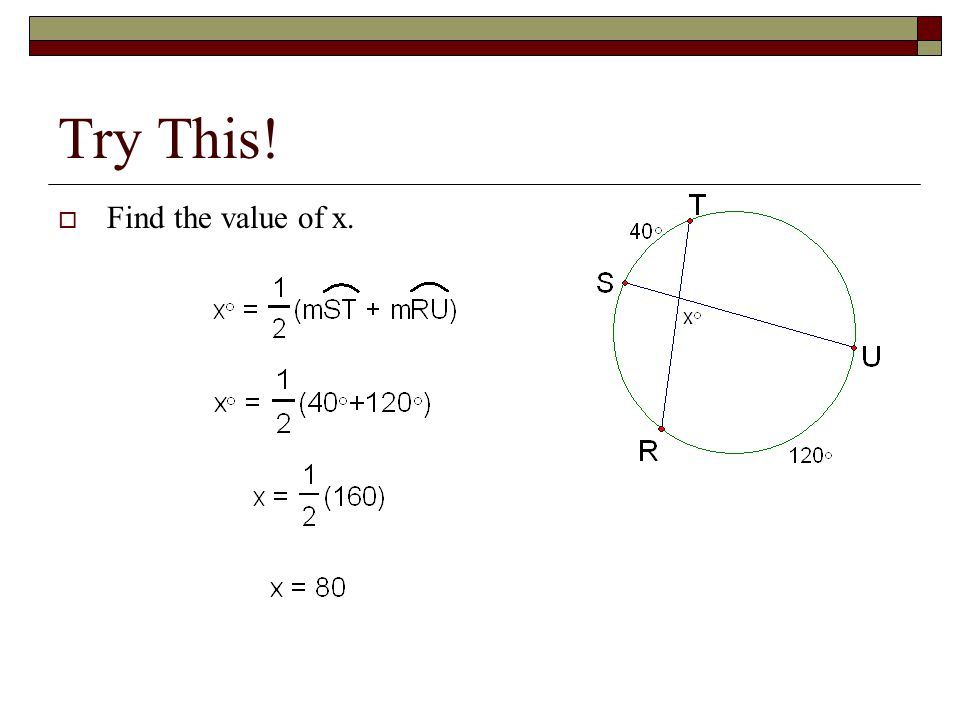 how to find the value of x in a circle