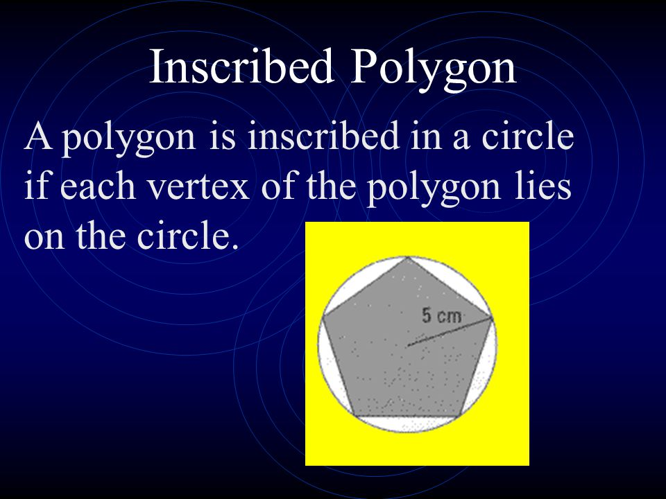Inscribed Polygon A polygon is inscribed in a circle if each vertex of the polygon lies on the circle.