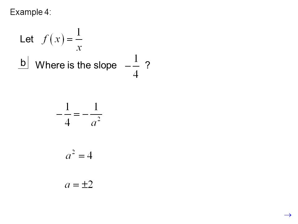 Example 4: Let b Where is the slope