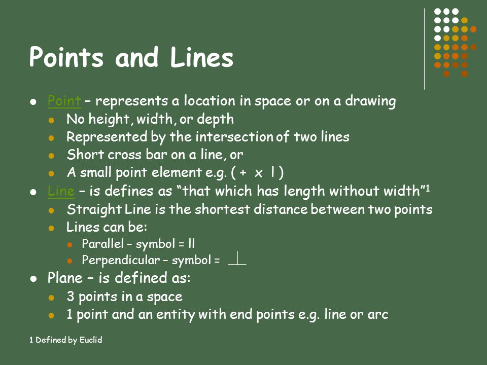 Points and Lines Plane – is defined as: