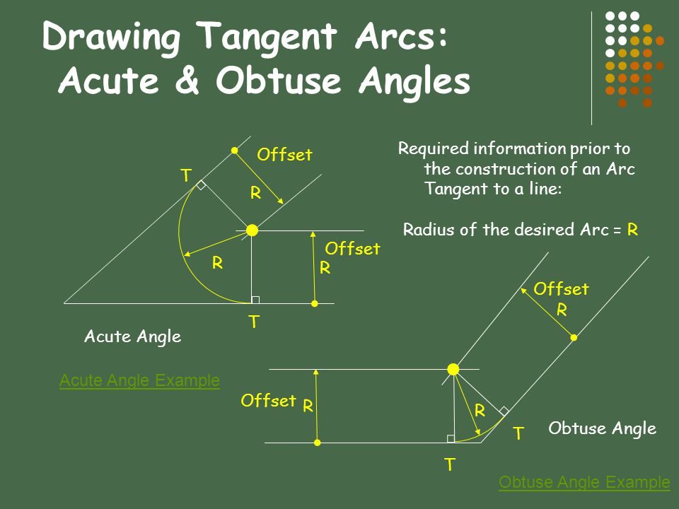 Drawing Tangent Arcs: Acute & Obtuse Angles