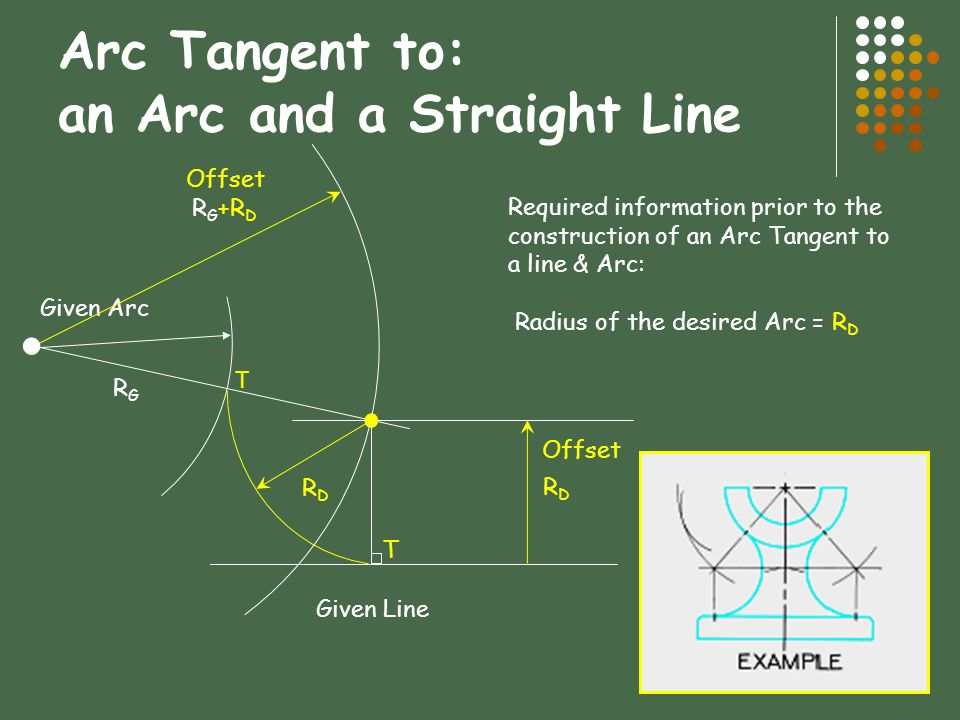 Arc Tangent to: an Arc and a Straight Line