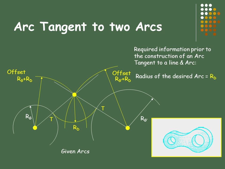 Arc Tangent to two Arcs Required information prior to the construction of an Arc Tangent to a line & Arc: