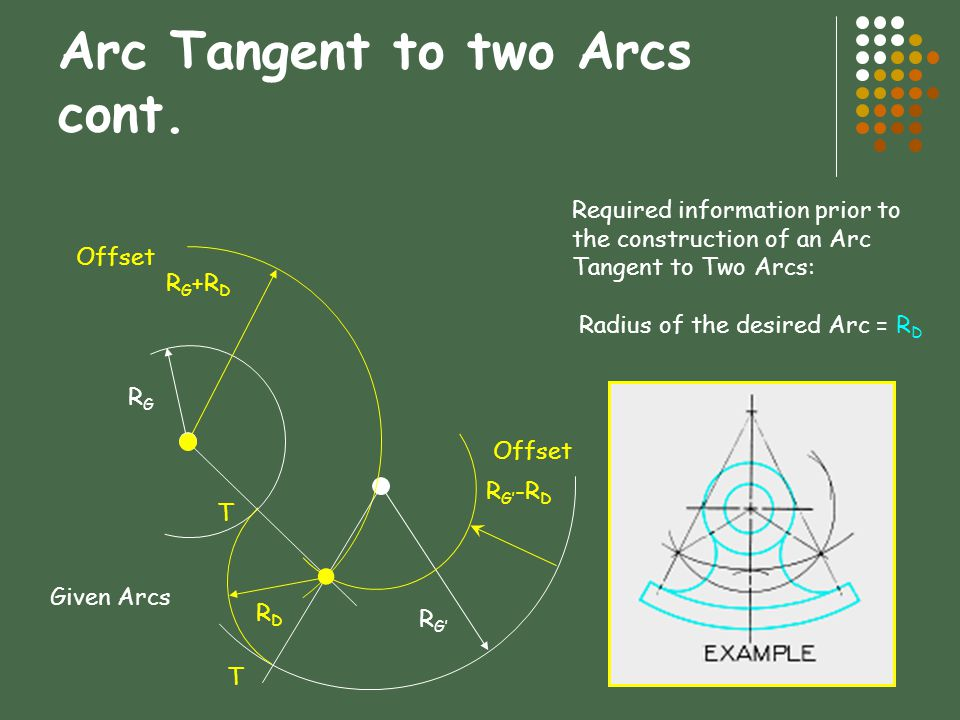 Arc Tangent to two Arcs cont.