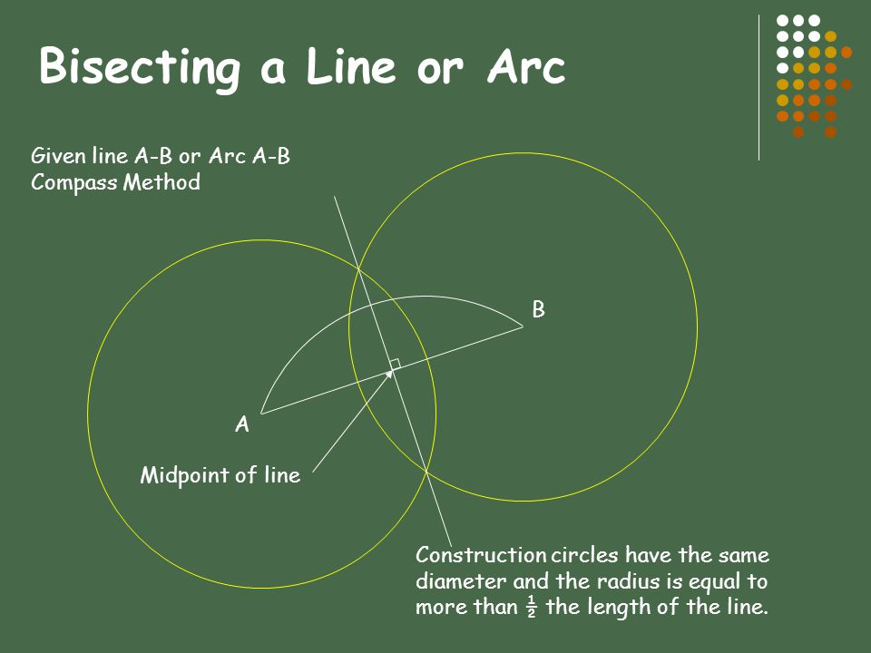 Bisecting a Line or Arc Given line A-B or Arc A-B Compass Method B A