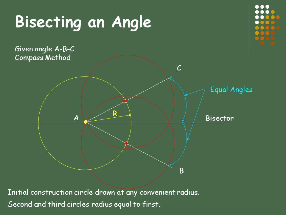 Bisecting an Angle Given angle A-B-C Compass Method C Equal Angles R A
