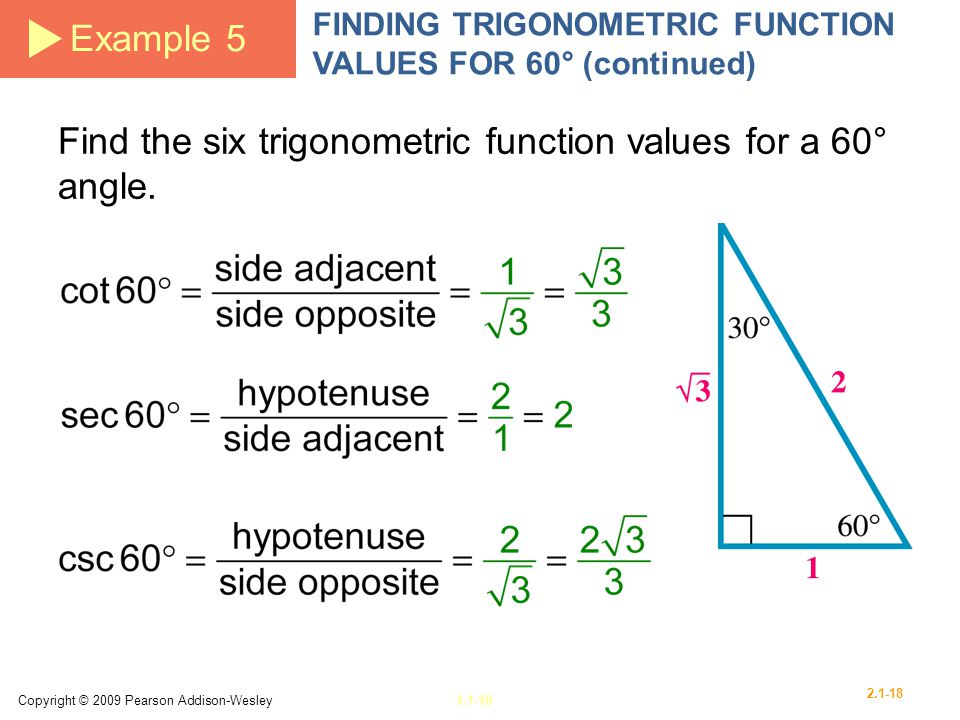 Find the six trigonometric function values for a 60° angle.