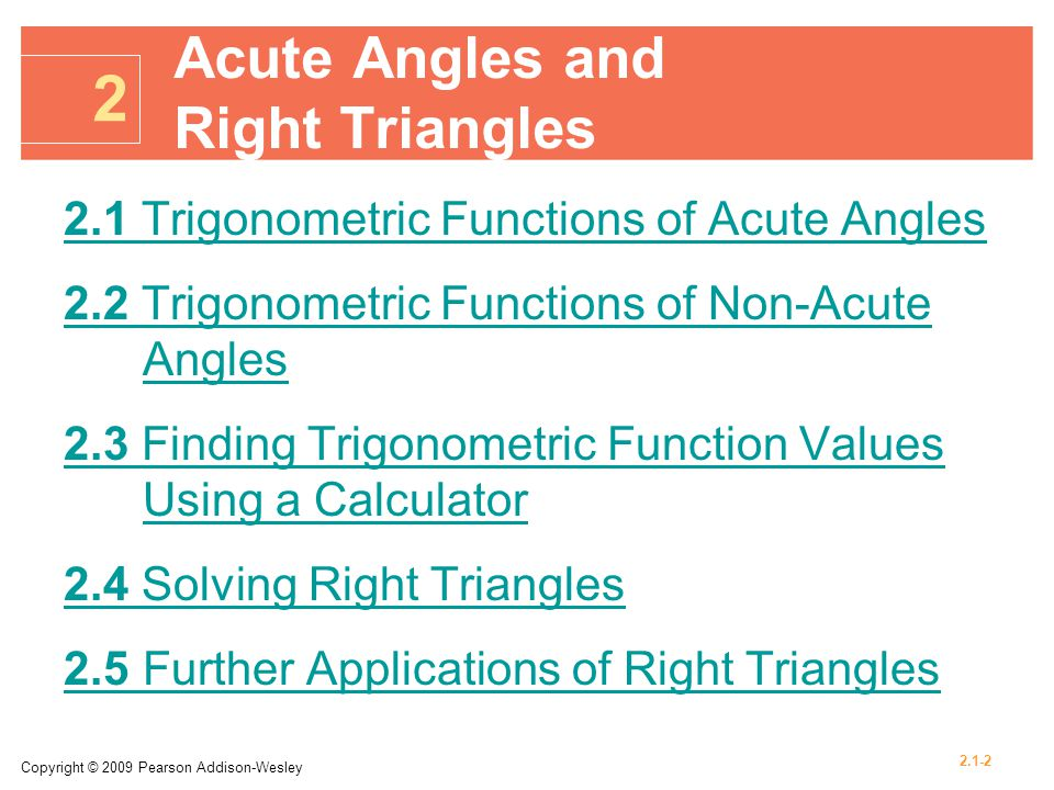 Acute Angles and Right Triangles