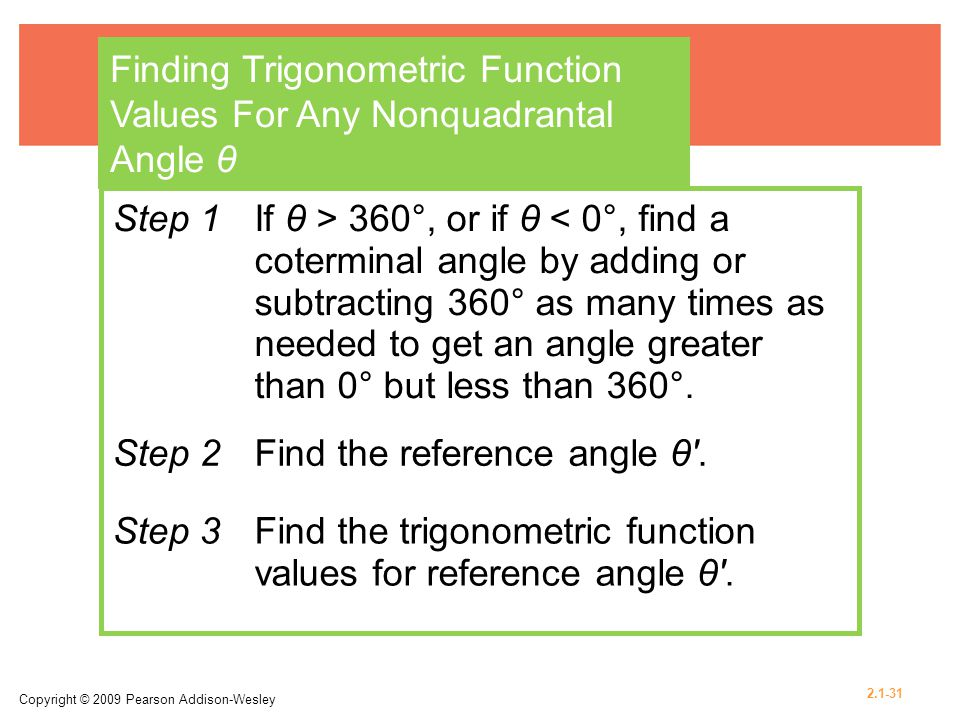 Finding Trigonometric Function Values For Any Nonquadrantal Angle θ