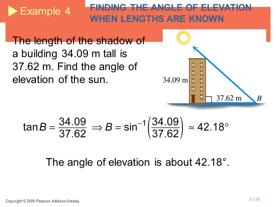 The angle of elevation is about 42.18°.
