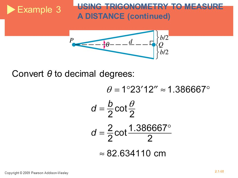 Convert θ to decimal degrees: