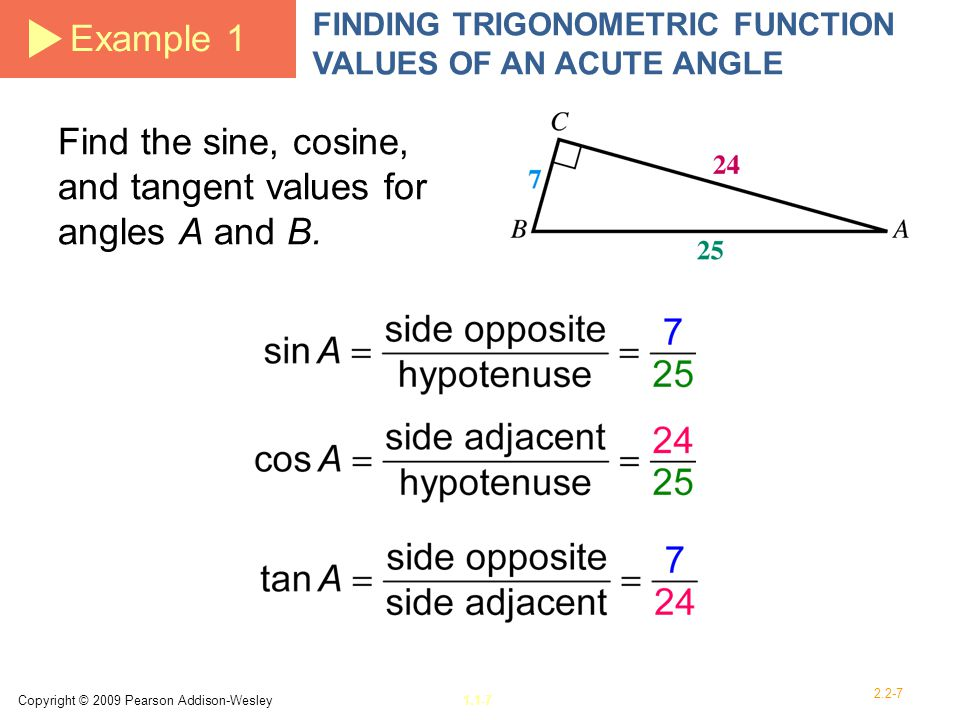 Find the sine, cosine, and tangent values for angles A and B.