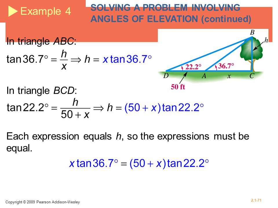Example 4 In triangle ABC: In triangle BCD: