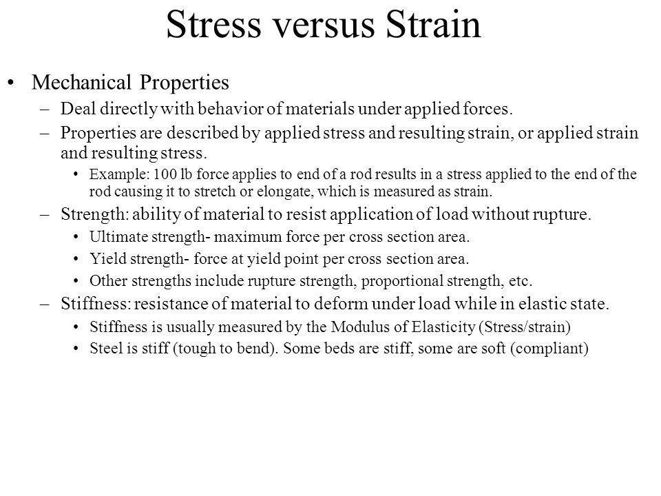 Stress versus Strain Mechanical Properties