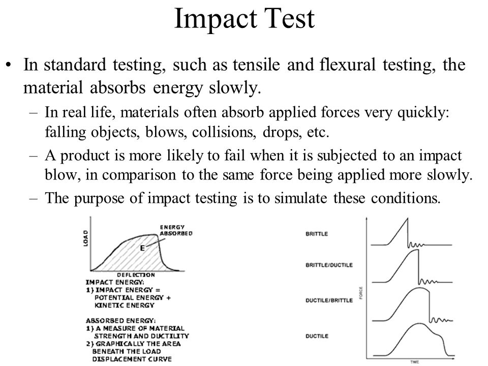 Impact Test In standard testing, such as tensile and flexural testing, the material absorbs energy slowly.