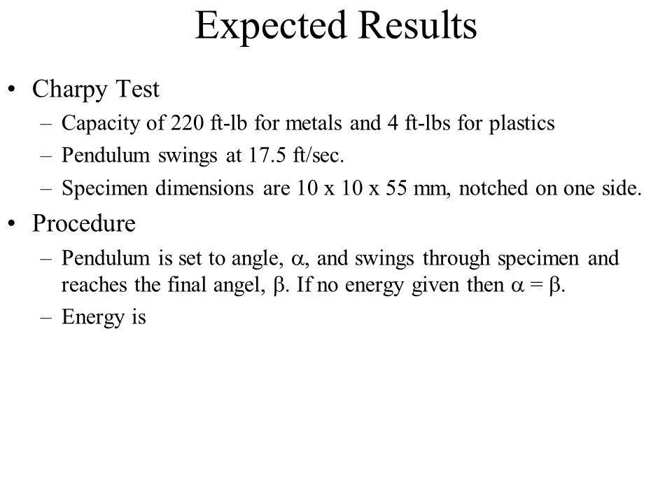 Expected Results Charpy Test Procedure
