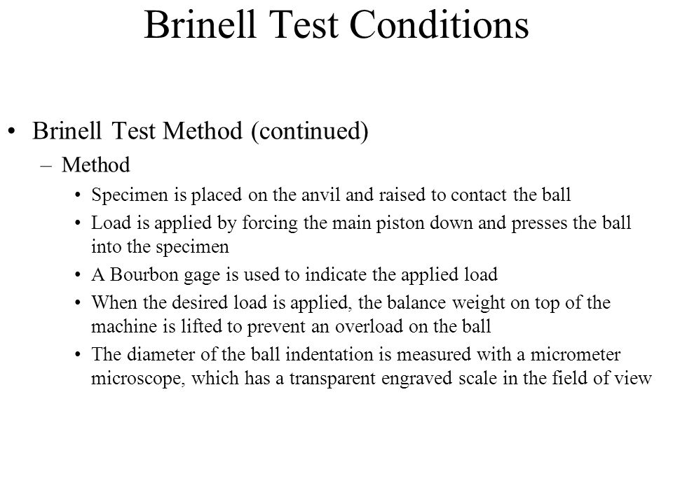Brinell Test Conditions