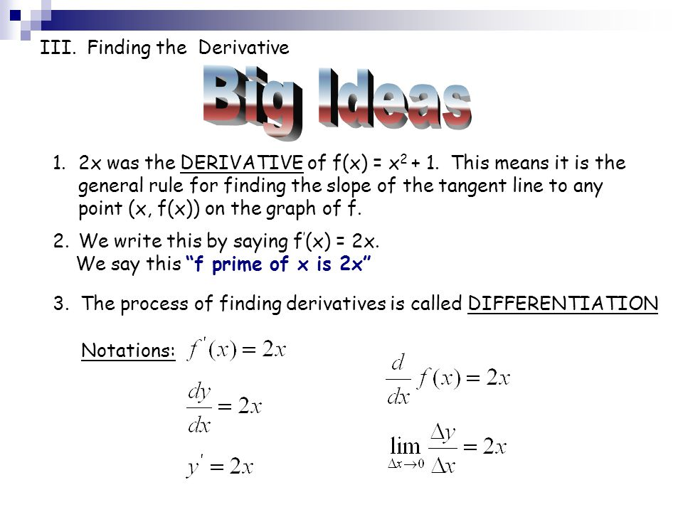 Big Ideas III. Finding the Derivative