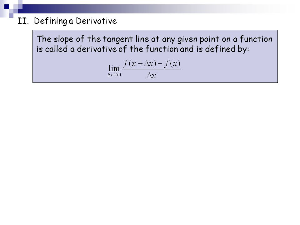 II. Defining a Derivative