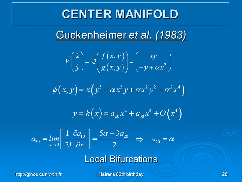 CENTER MANIFOLD Guckenheimer et al. (1983) Local Bifurcations