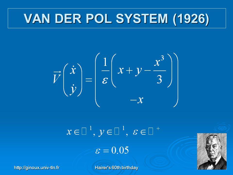 VAN DER POL SYSTEM (1926) http://ginoux.univ-tln.fr