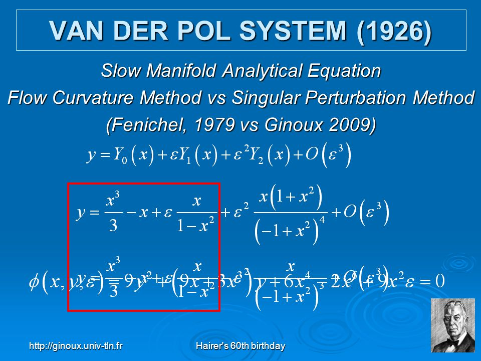 VAN DER POL SYSTEM (1926) Slow Manifold Analytical Equation
