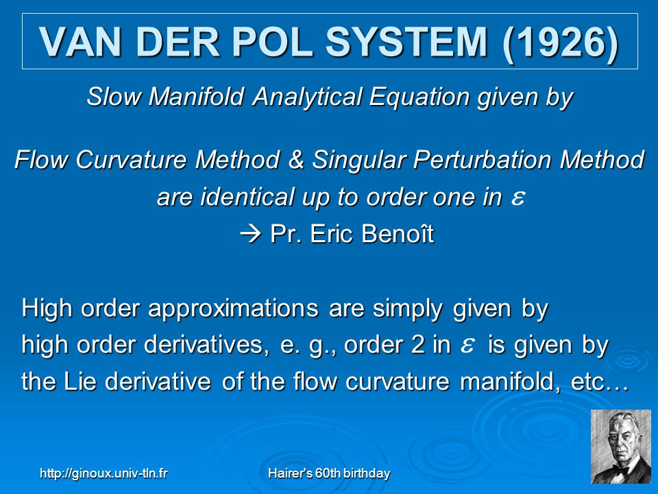 VAN DER POL SYSTEM (1926) Slow Manifold Analytical Equation given by