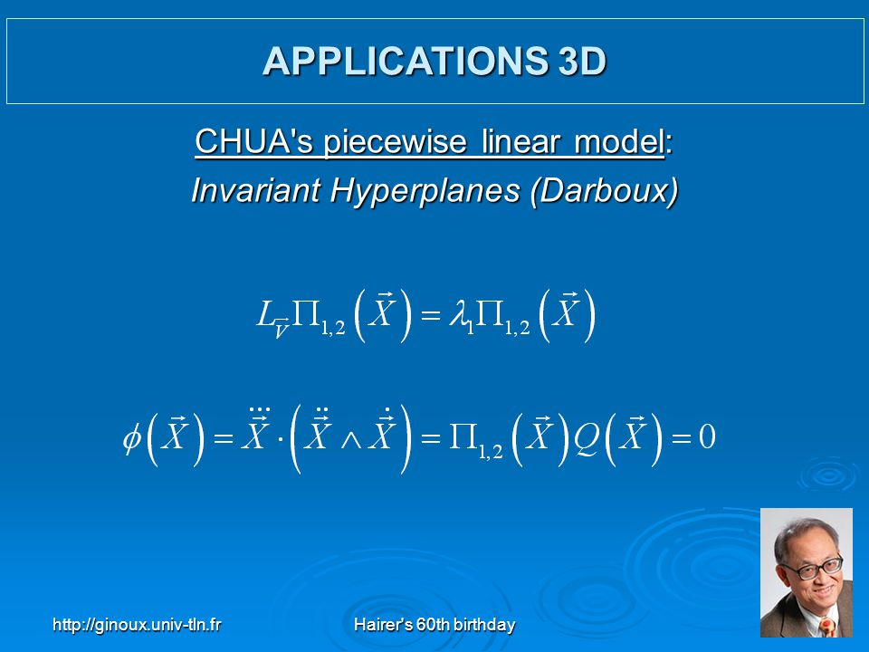 APPLICATIONS 3D CHUA s piecewise linear model: