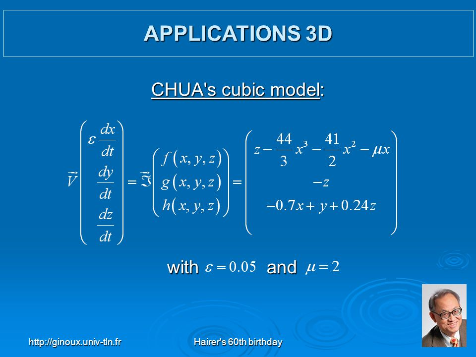 APPLICATIONS 3D CHUA s cubic model: with and http://ginoux.univ-tln.fr