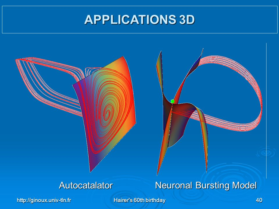 APPLICATIONS 3D Autocatalator Neuronal Bursting Model