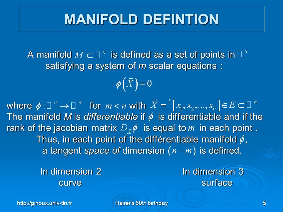 MANIFOLD DEFINTION A manifold is defined as a set of points in