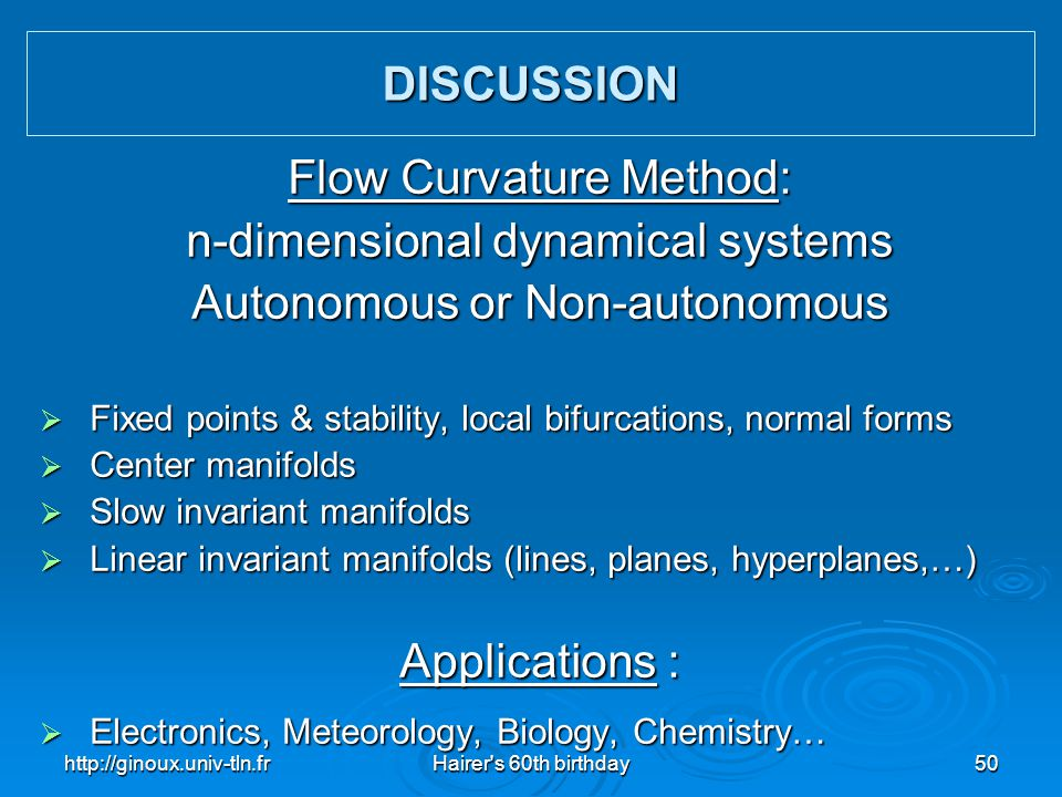 Flow Curvature Method: n-dimensional dynamical systems