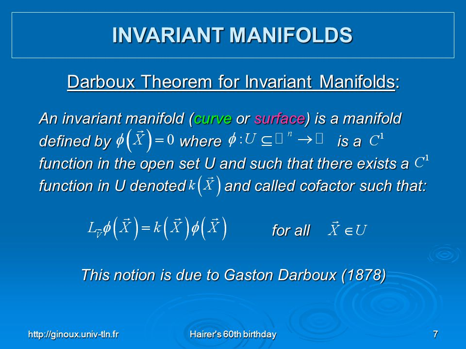 INVARIANT MANIFOLDS Darboux Theorem for Invariant Manifolds: