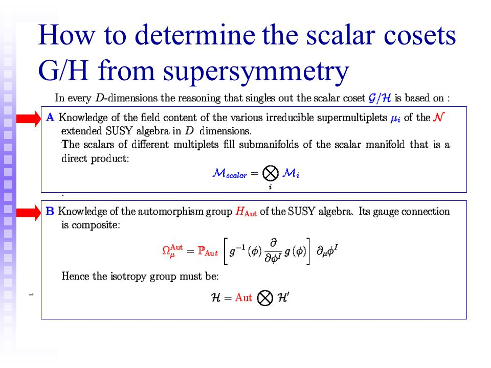 How to determine the scalar cosets G/H from supersymmetry