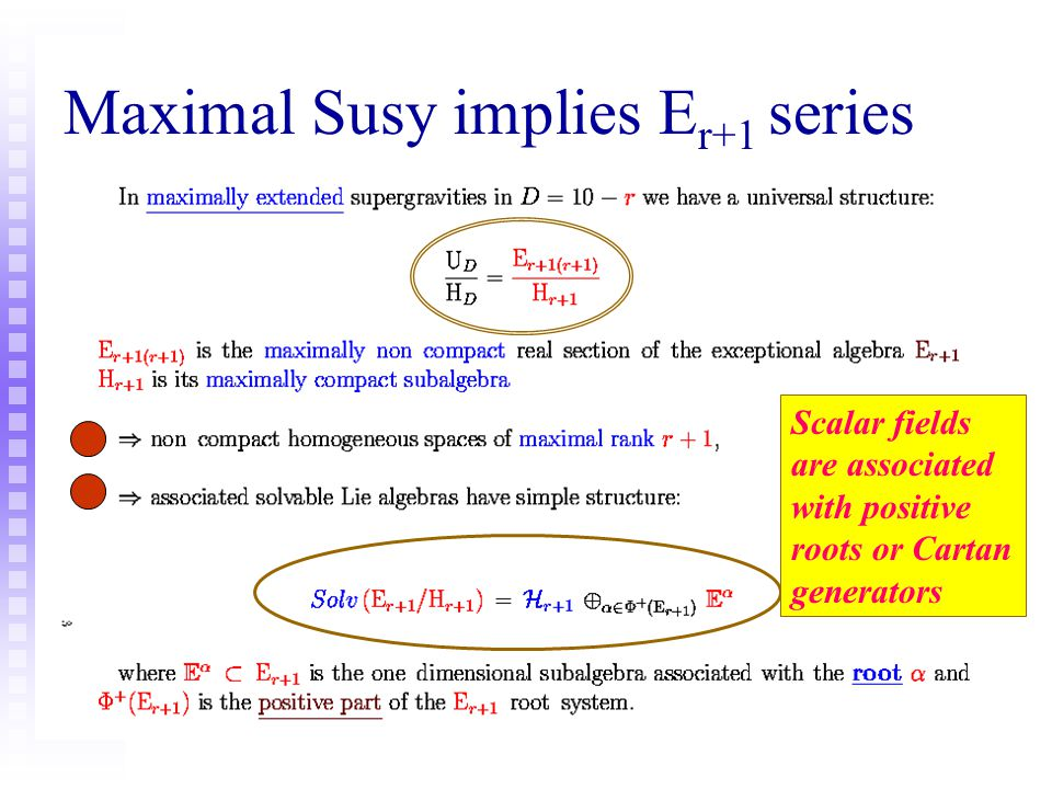 Maximal Susy implies Er+1 series