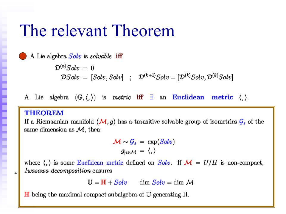 The relevant Theorem