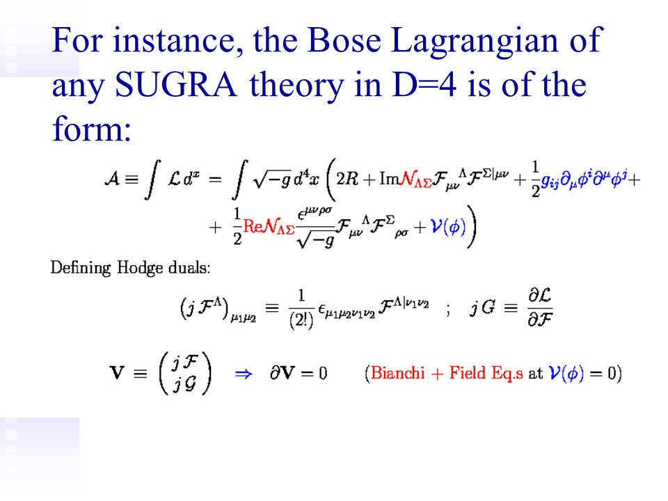 For instance, the Bose Lagrangian of any SUGRA theory in D=4 is of the form: