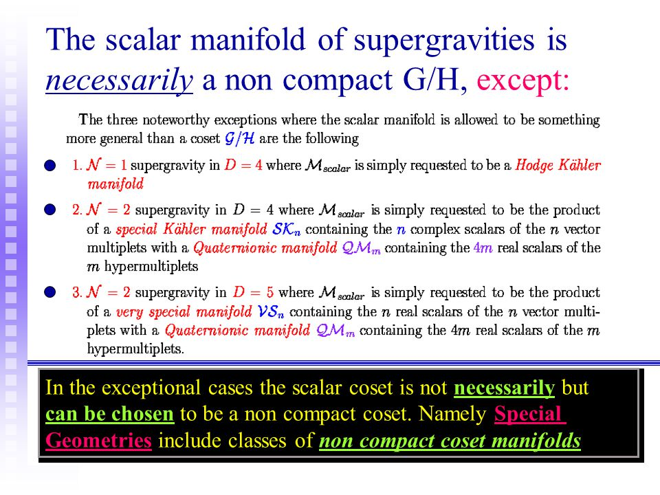 The scalar manifold of supergravities is necessarily a non compact G/H, except: