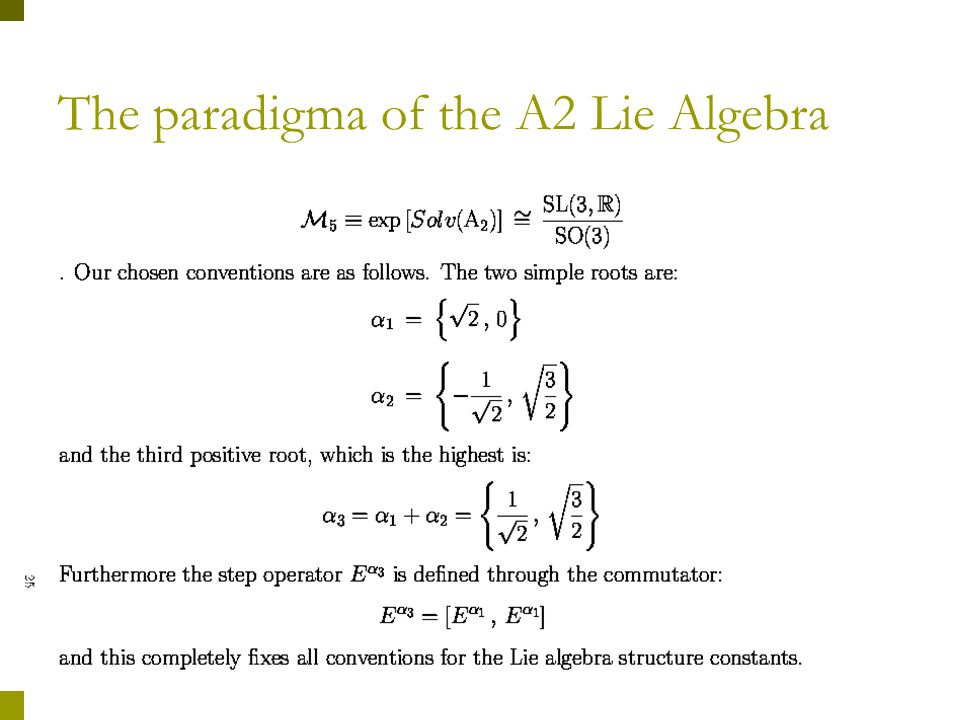 The paradigma of the A2 Lie Algebra