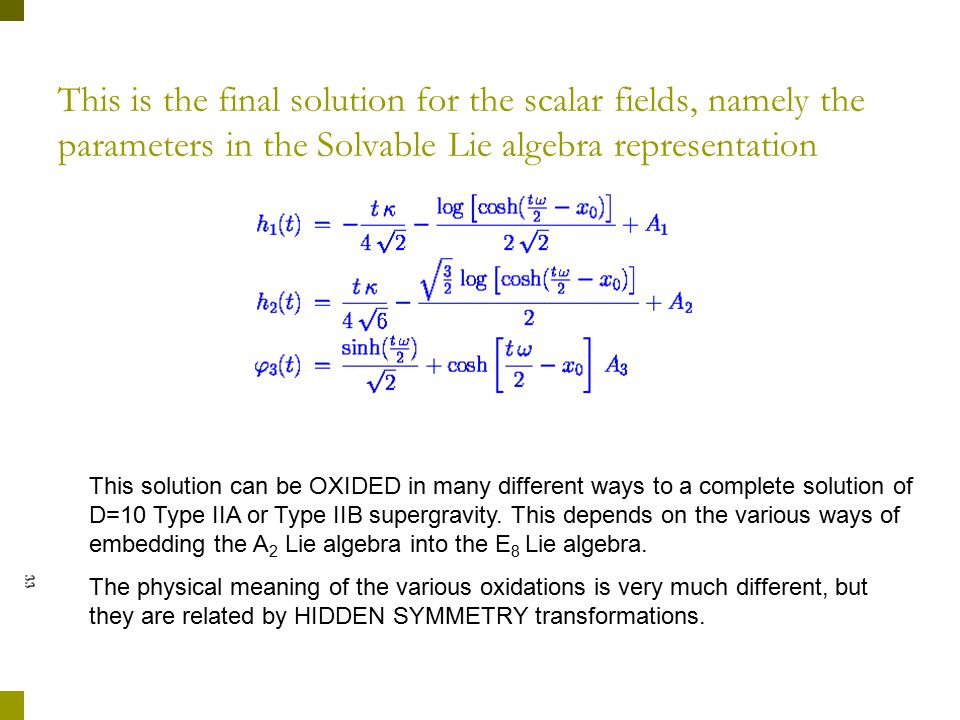 This is the final solution for the scalar fields, namely the parameters in the Solvable Lie algebra representation