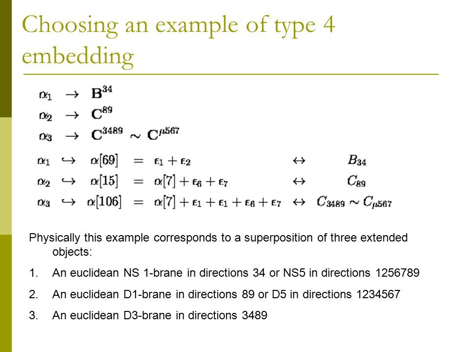 Choosing an example of type 4 embedding