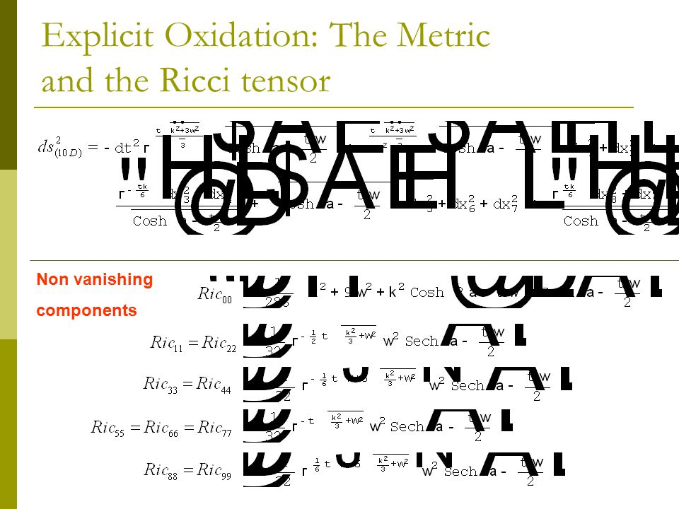 Explicit Oxidation: The Metric and the Ricci tensor