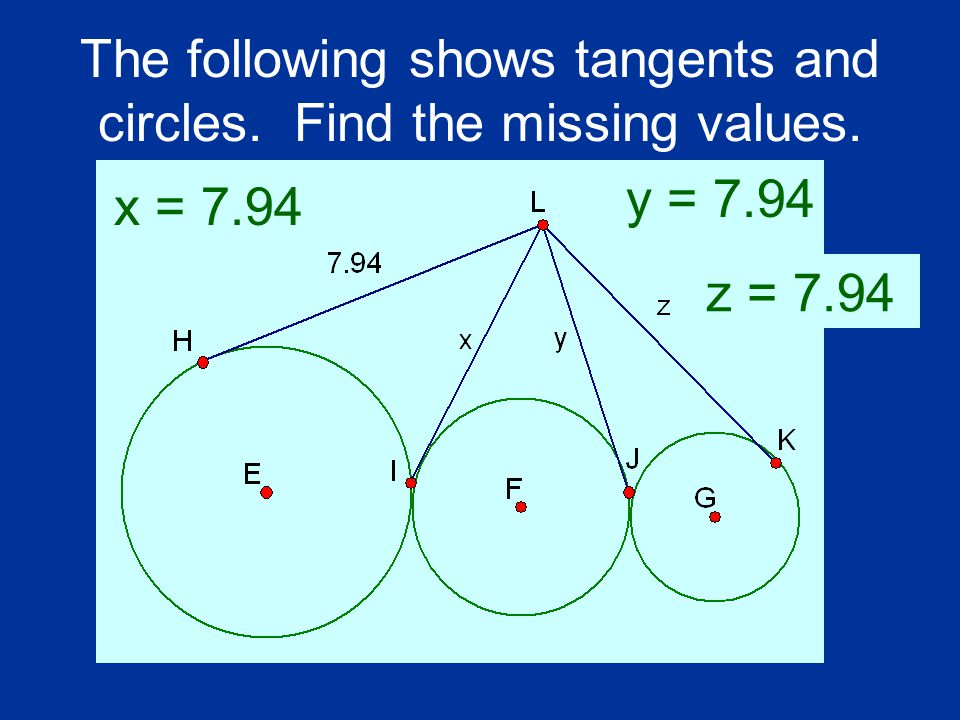 The following shows tangents and circles. Find the missing values.