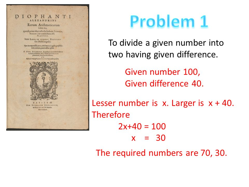 Problem 1 To divide a given number into two having given difference.