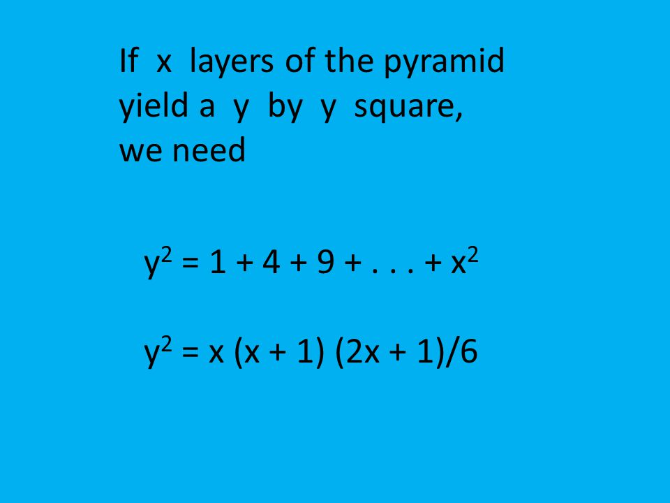 If x layers of the pyramid