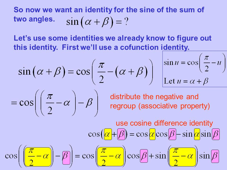 So now we want an identity for the sine of the sum of two angles.