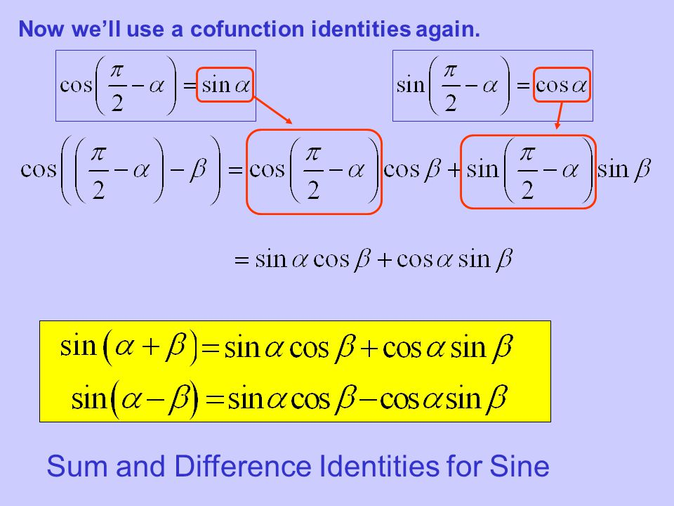 Sum and Difference Identities for Sine