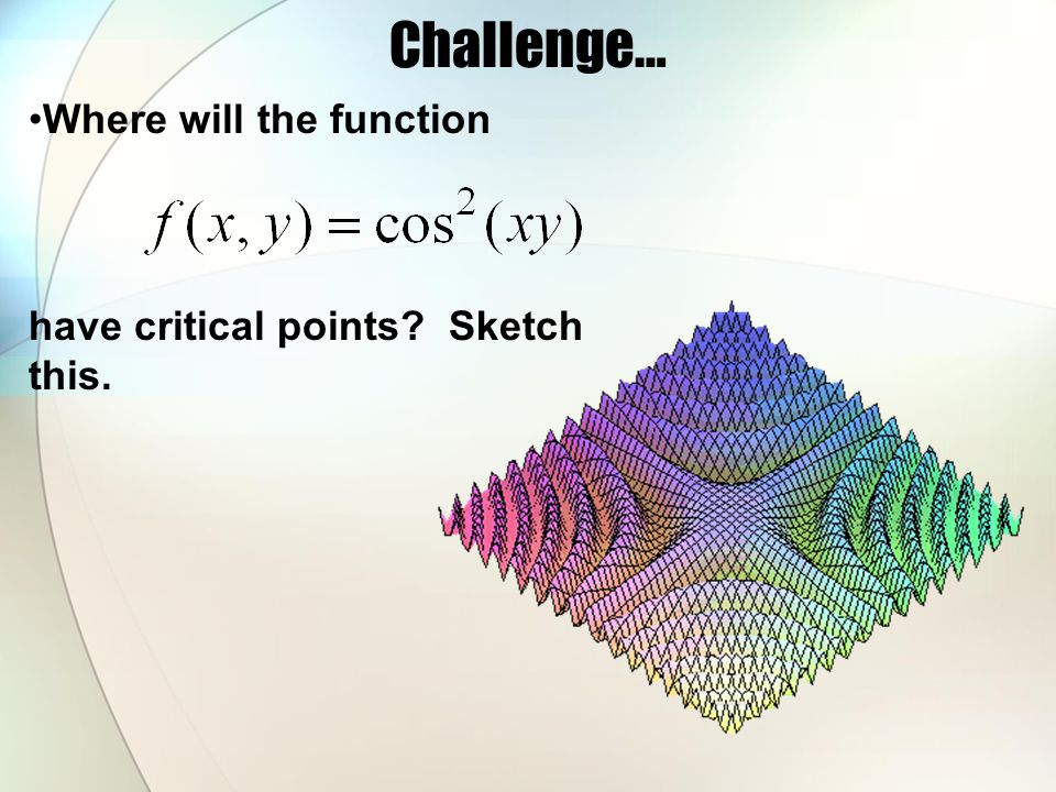 Challenge… Where will the function have critical points Sketch this.